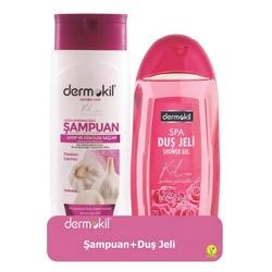 Dermokil - Dermokil Doğal Sarımsak Özlü Şampuan 400 ml + Gül Duş Jeli 500 ml