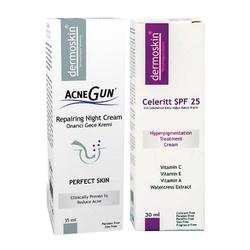 Dermoskin - Dermoskin Acnegun Gece Kremi + Celeritt Spf 25 Akneye Eğilim Gösteren Ciltler için Bakım SETİ